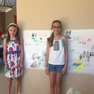 Our beautiful nieces, Ariana and Maya present us with their gorgeous Overland The Americas Posters!