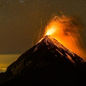 Starry Night Over Erupting Volcano – Guatemala, Central America
