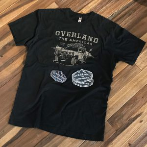 Overland the Americas T-Shirt + Patch + Stickers Bundle